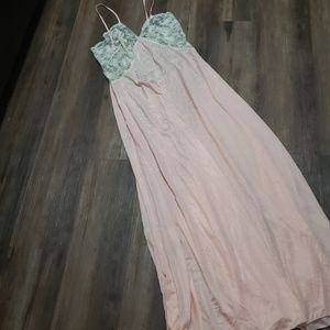 Vintage Pink Lace Silk Gown